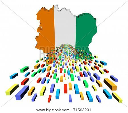 Ivory Coast map flag with containers illustration