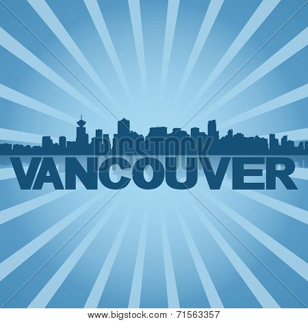 Vancouver skyline reflected with blue sunburst illustration