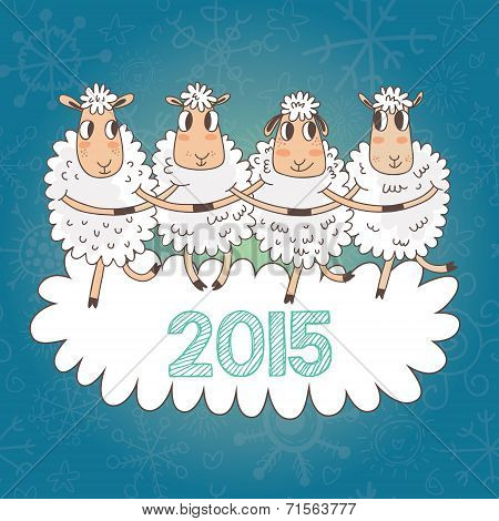 Cartoon Christmas And New Year Vector Card With 2015 Symbol - Very Cute Sheep