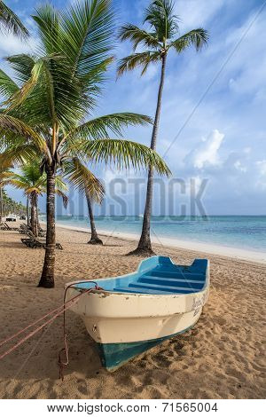 Boat on the beach, Caribbean Sunrise