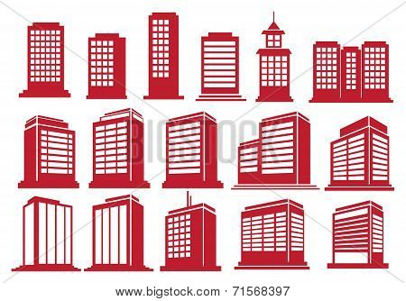 High Rise Buildings Vector Icon Set