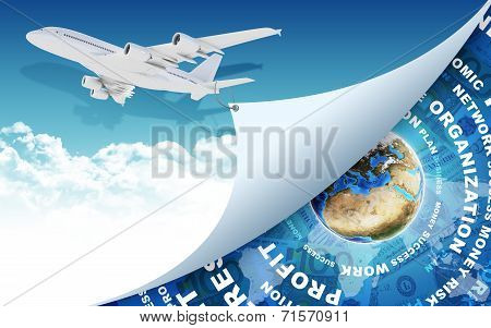 Airplane and Earth with money as backdrop