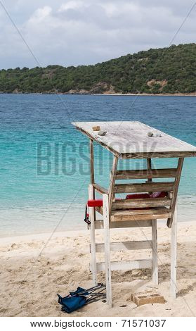 Lifeguard Stand By Blue Water