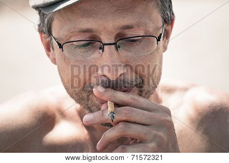 Man Smoking Hashish Joint
