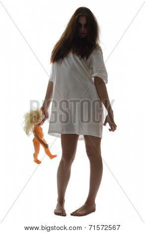 Zombie girl with doll isolated