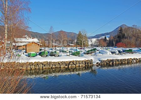 Reversed Rowing Boats At Winter Season, Lake Schliersee, Germany