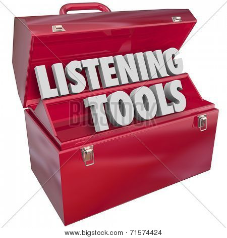 Listening Tools words in 3d letters in a red metal toolbox to illustrate social media monitoring tools and resources to pay attentions to readers, fans or audiences