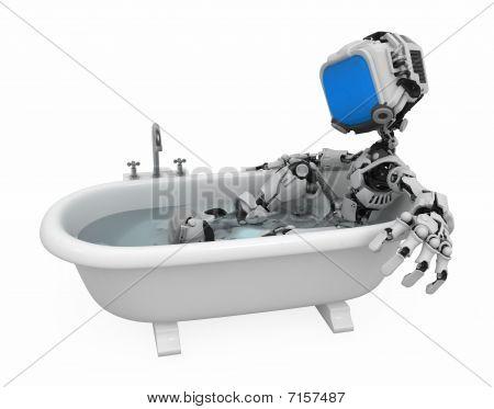 Tela azul robô, banho
