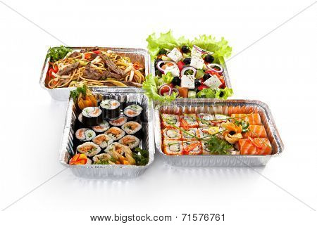 Airplane Food - Sushi, Greek Salad and Spaghetti