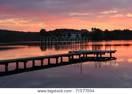 Benedictine Cloister And Lake Seeon, Wooden Boardwalk, At Sunset