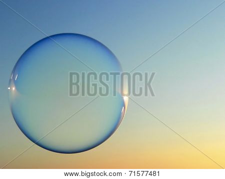 Floating Soap Bubble In The Evening