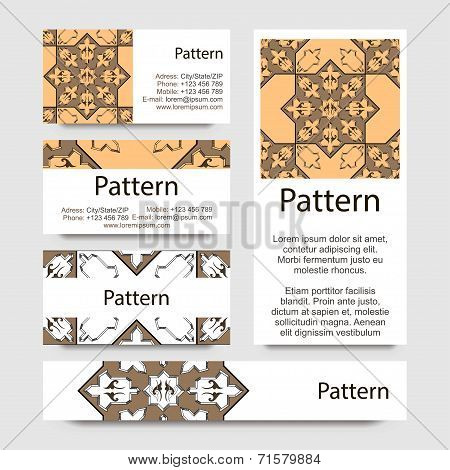 Business cards pattern with Islamic morocco ornament. Includes seamless pattern.