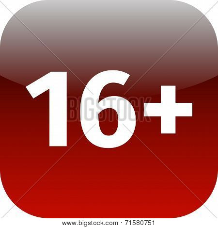 Restriction On Age 16+ - Red And White Icon