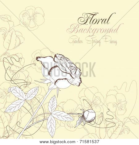 Floral Background with pansies and rose