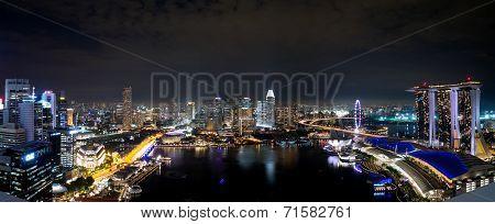Singapore Panorama Cityscape At Night