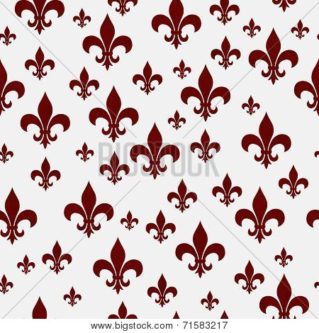 Red And White Fleur-de-lis Pattern Repeat Background