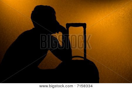 Traveling - Silhouette Of Man And Suitcase