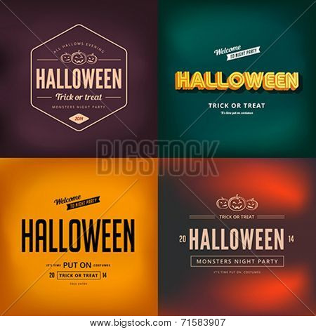 Halloween festival typography vintage retro style vector design poster. Night Party Creative typo font banner template.