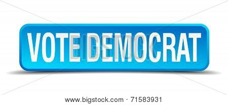 Vote Democrat Blue 3D Realistic Square Isolated Button