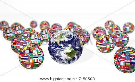Earth And National Flags On White