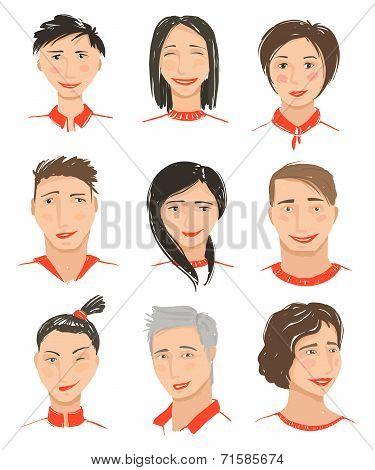Men and Women Hand Drawn Face Avatars Set
