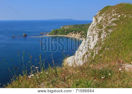 View To Mupe Bay, Lulworth, And Steep Cliffs