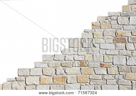 Increasing Stone Wall, Isolated On White