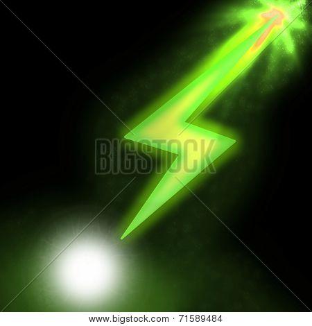 Ilustration of sparkling lightning green bolt with electric effect