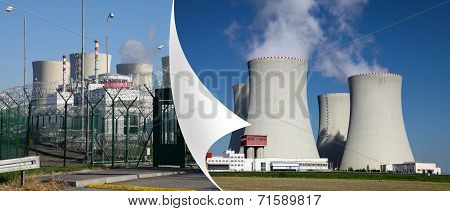 Nuclear power plant Temelin in Czech Republic Europe,corner of the page