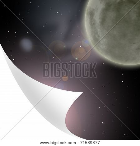 Planets and galaxy, secret universe, bent corner of the page