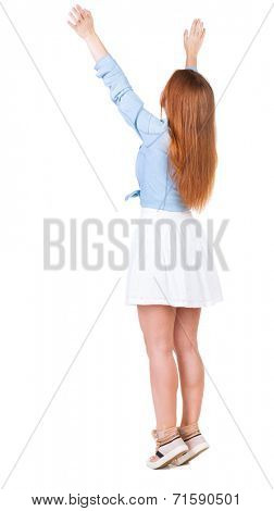 Back view of beautiful woman welcomes. Young teenager girl in dres hand waving from. Rear view  people collection.  backside view of person.  Isolated over white background.