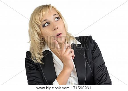 Pleasantly surprised business woman