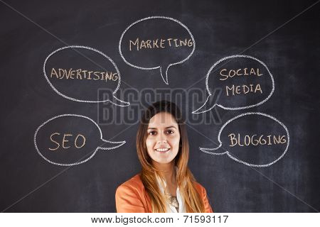 Businesswoman expertise in Marketing and Social Media