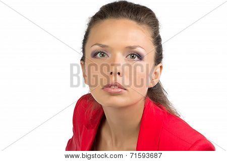 Portrait of businesswoman in red jacket