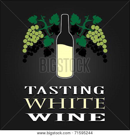 Tasting White Wine poster. Vector illustration