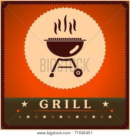 Retro Grill Menu Card Design template poster