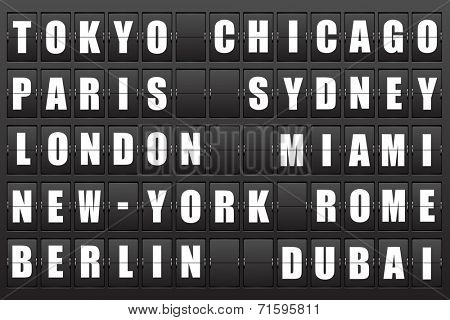 Flight destination, information display board named world cities Tokyo, Chicago, Paris, Sydney, London, New York, Berlin, Dubai, Miami, Roma. Scoreboard airport. Illustration.