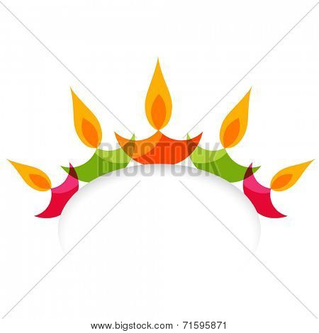 Vector stylish colorful diwali diya isolated on white background