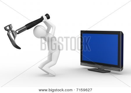 Tv Technical Service. Isolated 3D Image
