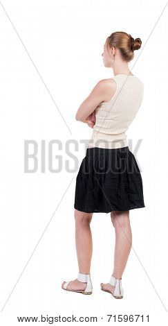 back view of standing young blonde woman. Rear view people collection.  backside view of person.  Isolated over white background.