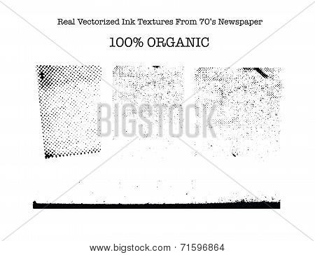 Real vectorized black traced ink textures from 70's newspaper