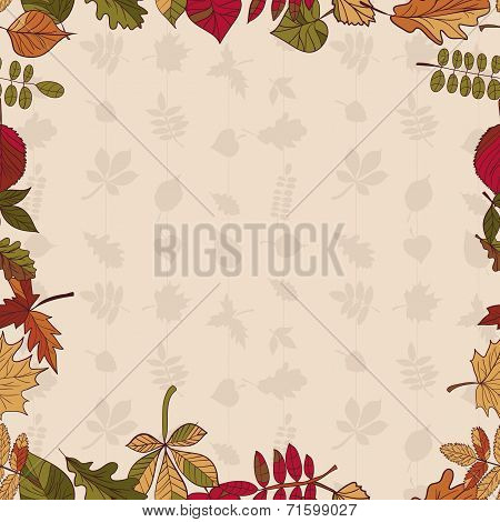 Autumn Pattern. Pattern Of Autumn Leaves. Red, Yellow And Green Leaves Of Forest Trees.  Seamless Fr