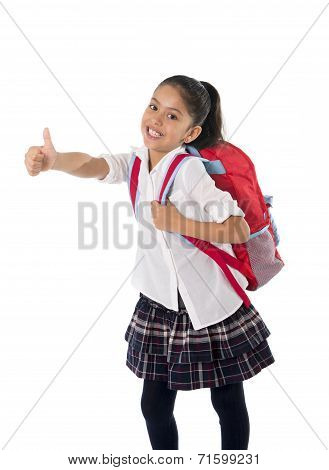 Sweet Cute Little School Girl Giving Thumb Up Carrying School Bag