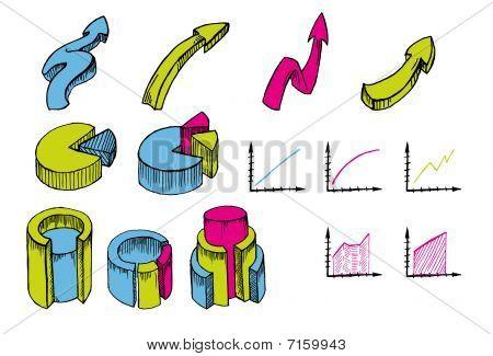 financial symbols doodles hand drawn set