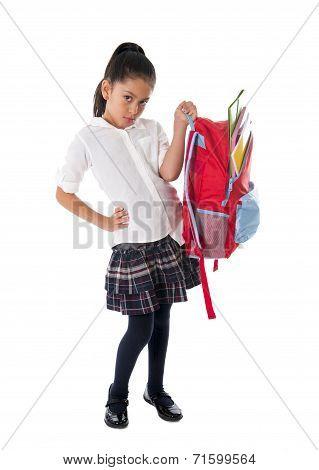 Latin Sweet Little School Girl Carrying Heavy Backpack Or Schoolbag Full