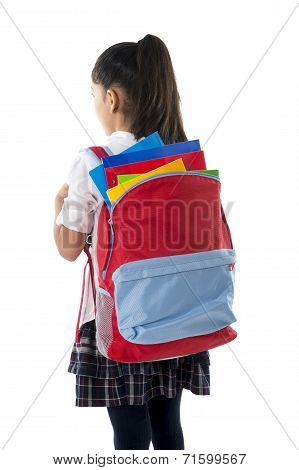 Sweet Little Schoolgirl Carrying Very Heavy Backpack Or School bag Full