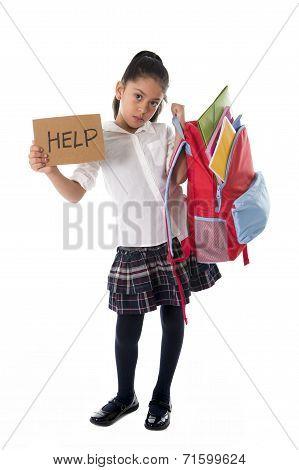 Sweet Little mexican schoolgirl Carrying Heavy Backpack Or Schoolbag Full