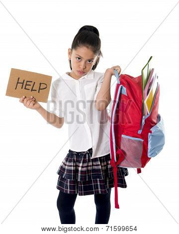 Sweet Little spanich schoolgirl Carrying Heavy Backpack Or Schoolbag Full
