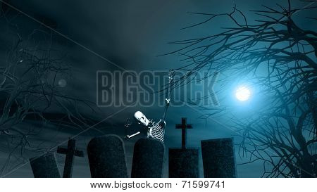 Halloween background with spooky trees, skeleton and graves against a moonlit sky