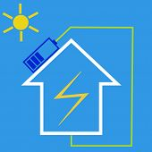 stock photo of solar battery  - Eco house with solar battery as idea of eco - JPG